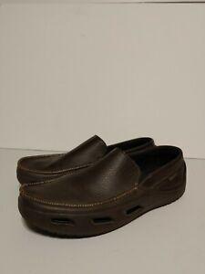 Crocs Tideline Leather 12197 Sz 10 Brown Driving Boat Shoe Slip On Loafer Men's