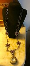 """AMY KAHN  RUSSELL POCKET WATCH NECKLACE 36"""" Bronze Floral"""