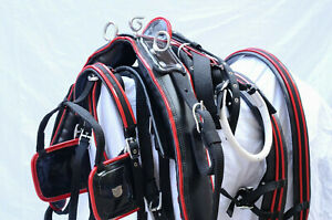 NYLON WEBBING DRIVING HARNESS TWO TONE FOR SINGLE HORSE WITH BLACK COMBINATION