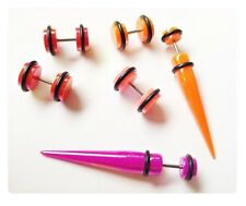 6 x neon metallic fake cheater ear tapers plugs Stretcher Expander earrings