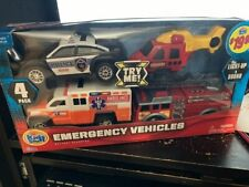 Kids Stuff 4-in-1 Emergency Vehicles Play Set with Lights and Sounds