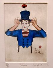 """GEORGE CRIONAS """"CLOWN"""" Hand Signed Limited Edition Color Etching Marcel Marceau"""