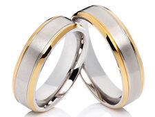 2 Eheringe Trauringe Ring Hochzeit Verlobung Edelstahl Bicolor & gratis Gravur