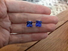 Brand new Silver plated 8mm  square  stud earrings with blue stones + gift box