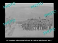 OLD LARGE HISTORIC PHOTO OF AUSTRALIAN ANZAC SOLDIERS PLAYING 2-UP HURDCOTT WWI