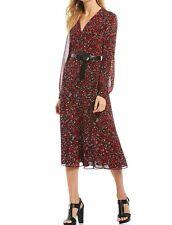 MICHAEL Michael Kors Printed Belted Midi Dress Black/Scarlet Size L