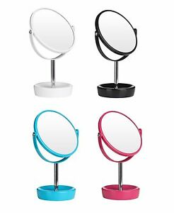 Swivel Table Mirror Plastic Chrome Makeup Bath Shaving Mirror Magnifying Option