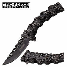"8"" TAC FORCE SPRING ASSISTED Chain Link FOLDING KNIFE Stone Wash Pocket Knife"