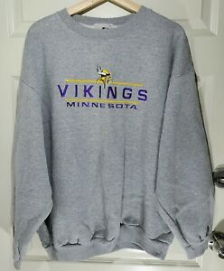 NOS VTG 90s NFL Minnesota Vikings Logo Athletic Heather Gray Crewneck Sweatshirt