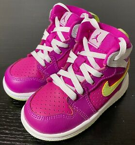 Nike Air Jordan 1 Retro High 705324-509 toddler Fuchsia basketball sneakers 5C
