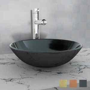 vidaXL Waschbecken Hartglas 42cm Waschschale Waschtisch Becken mehrere Auswahl