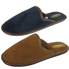Mens Mocs Faux Suede Leather Trim Coolers Slippers Mule Mules Winter Slip On NEW