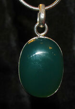 Green Onyx stone sterling silver pendant necklace real healing jewelry heart fun
