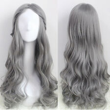 Heat Resistant Harajuku Lolita Gray Hair Long Wavy Curly Anime Costume Party Wig