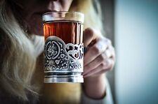 UKRAINE GLASS HOLDER PODSTAKANNIK BOGDAN KHMELNYTSKY 1970s germane silver gift