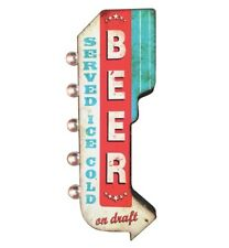 BEER Served Ice Cold On Draft Double Sided Metal Sign LED Lights Bar Man Cave