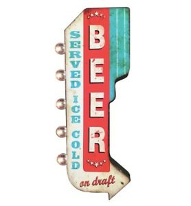 BEER Ice Cold On Draft Double Sided Metal Sign W/ LED Lights, Craft Bar Man Cave