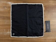 DOLCE & GABBANA solid black silk pocket square authentic - NWT