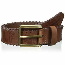 TOMMY HILFIGER WHIP STITCHED BELT. BROWN SADDLE LEATHER, W 38 INCH, 95 cms, NEW