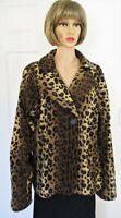 Susan Graver Leopard Print XL,1-Button Brown Pocket Jacket 100% Polyester