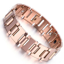"Mens Tungsten Bracelet, Rose Gold, Heavy, 7.87"" KB2295"