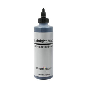 Chefmaster 9-Ounce Midnight Black Airbrush Cake Decorating Food Color