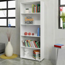 White Bookshelf Tall Bookcase 5 Shelves Unit Shelving Changeable Storage Set 2Pc
