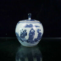 Chinese old porcelain Blue and white figure pattern lid jar Storage pot