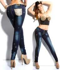 Jeans donna Skinny pantalone denim con glitter e paillettes taschino gold pants
