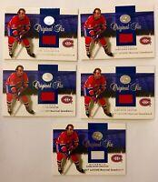 (5) LOT 2001 Fleer Greats Of The Game Guy LaFleur Original Six Jersey Canadiens