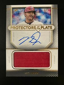 Mike Trout 2021 Topps Definitive Protectors Game Used Patch Autograph 3/5 Angels