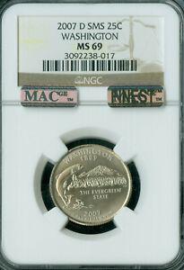 2007-D WASHINGTON QUARTER NGC MS69 SMS MAC FINEST POP-12 MAC SPOTLESS *