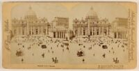 Place Saint-Pierre Roma Vaticano Foto Stereo PL55L6n Vintage Albumina 1894