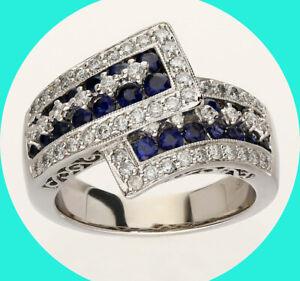 1.05CT H diamond sapphire bypass ring 14K WG details 4.4 GM sz 6.75