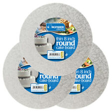 3 x 8 inch (20 cm) Round Thin Silver Cake Boards - Professional Quality