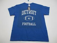 new GILDAN Shirt Men's Size L 100% Cotton DETROIT FOOTBALL Blue #TB1234