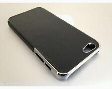 Carcasa Funda para iPhone 5 5S SE poli piel Negro cromado brillo