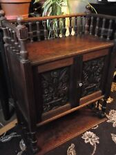 ANTIQUE WOODEN CABINET CARVED DOUBLE DOORS & KEY GALLERY TOP OPEN BOTTOM