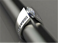 Fashion 925 Silver Marquise Cut White Topaz Ring Women Men Wedding Jewelry Gift