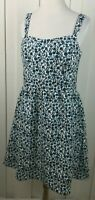 Ann Taylor LOFT Sheath Dress White Blue Floral Sleeveless Flared Women's Size 8