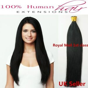 """16""""-22"""" 1g 7A* Stick/I-Tip Double Drawn Indian Remy Human Hair Extensions UK 1st"""