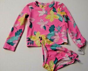 Carter's Toddler Girl's 2 Pc Long Sleeve Rash Guard Swimsuit Set Bright Pink