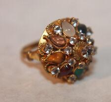 Vintage Multi Gemstone Harem Moghul Beehive Thai Crown Ring Sz 5.5