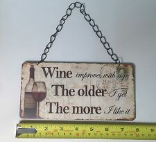 Wine Improves Vintage Style Retro Plaque Sign Friendship Xmas Gift Ideas For Her