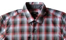 Men's HUGO BOSS Gray Red Black Plaid Shirt M Medium NWT NEW $145+ Slim Fit RONNI