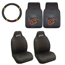 Cleveland Cavaliers Seat Covers Set with Rubber Floor Mats & Steering Cover 5PC
