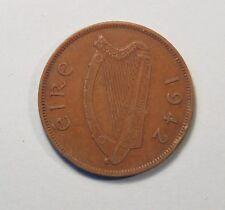 1942 Penny Ireland Bronze World Coin Irish Harp Hen with Chicks KM11 Eire pence