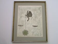 OSSI CZINNER LITHOGRAPH ABSTRACT SURREAL SIGNED DEDICATED TO VINCENT PRICE LIBRA
