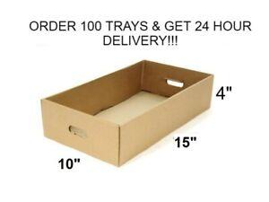 """Cardboard Die Cut Trays Boxes Drink Canes Beers Fruits Vegetable 15"""" x 10"""" x 4"""""""