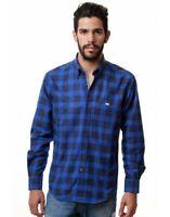 EE Exclusive Camisa hombre manga larga algodón bonito estampado de cuadros azul